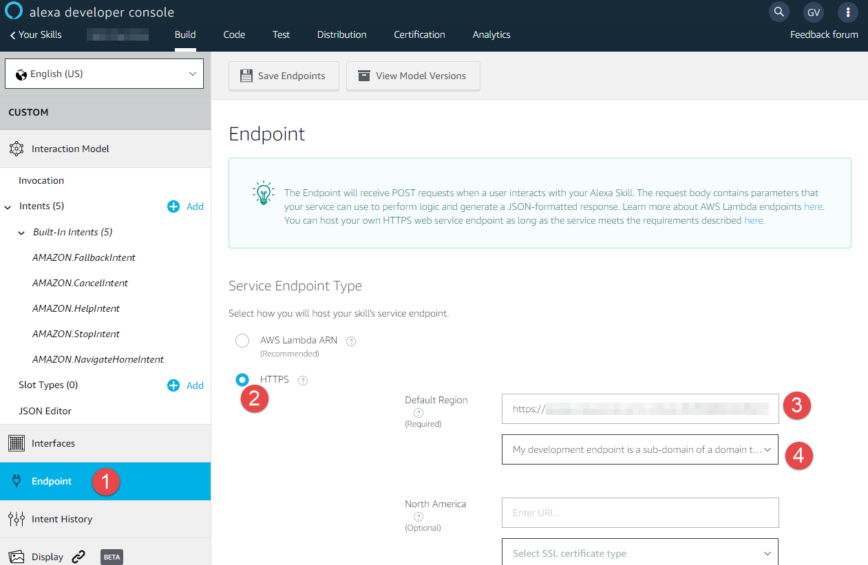 Endpoint configuration screen in Alexa Developer Console
