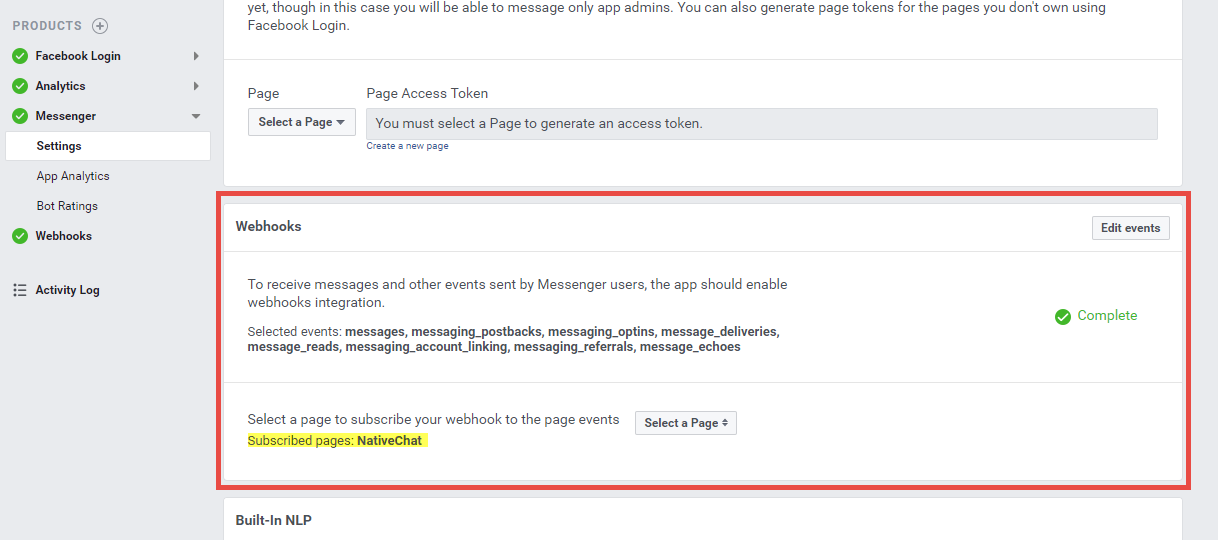 Webhooks Section on the Messenger Settings page.