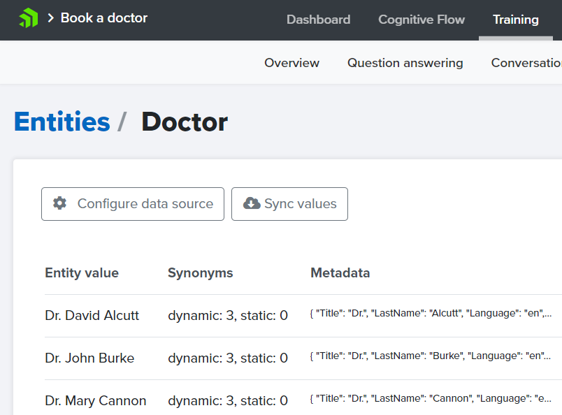 Example training data for Doctor custom entity.