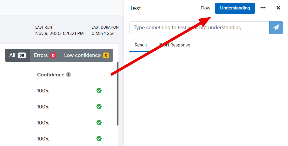 Test understanding is available under the Understanding tab in the Test console.