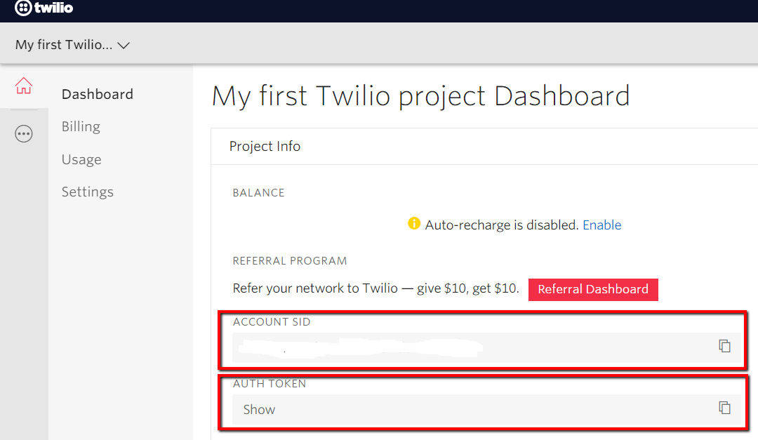 Copy these items from the Twilio Console.