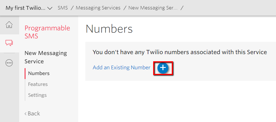 Phone number assignment in Twilio console.