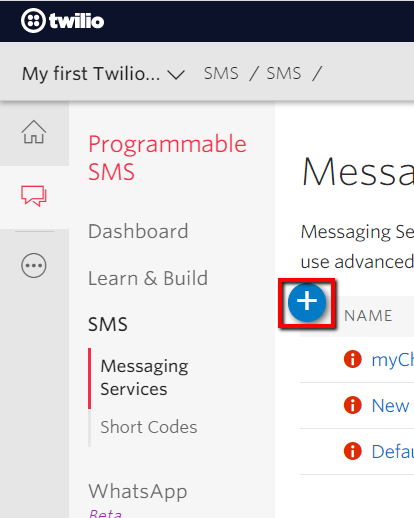 Programmable SMS in Twilio console.
